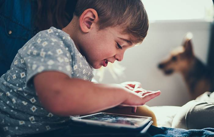 Small boy using a tablet