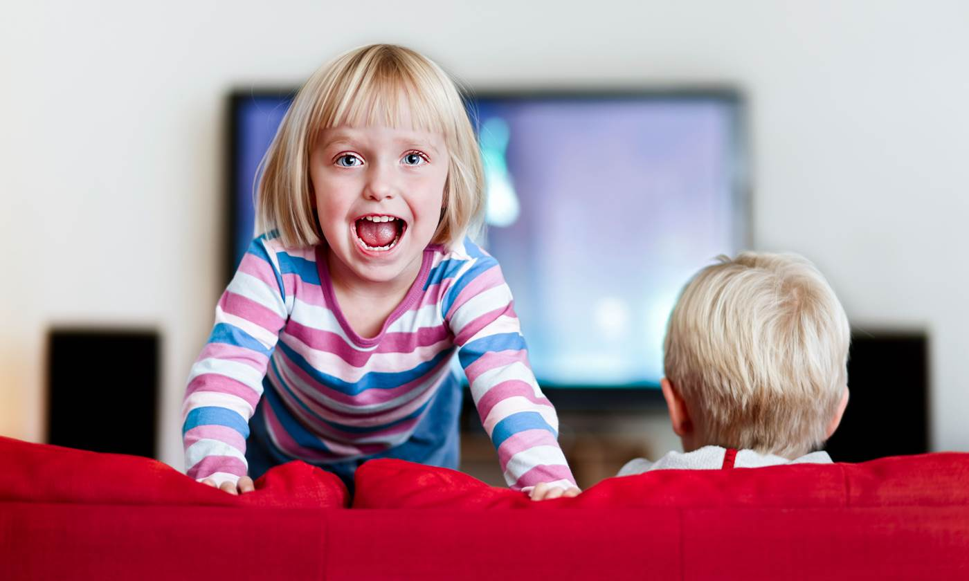 Excited three-year-old simply cannot sit still