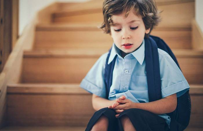 Little boy in school uniform