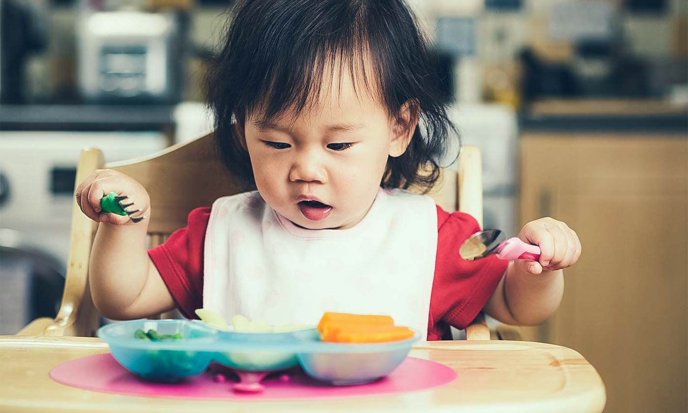 Toddler eating a healthy meal