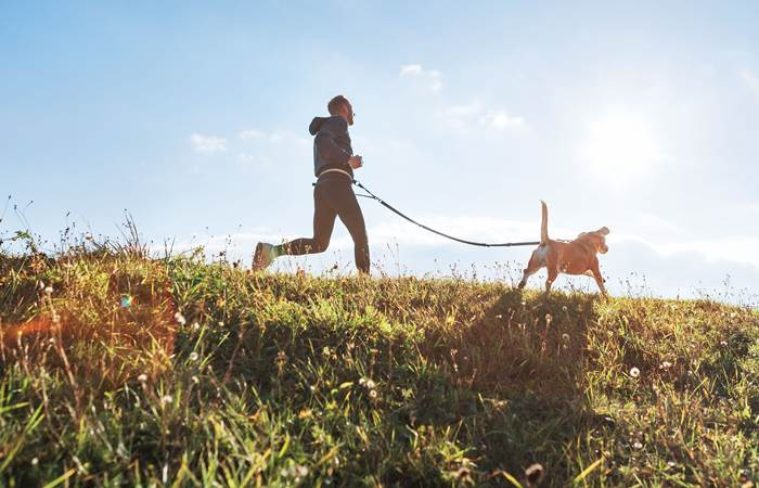 Man runs with his beagle dog at sunny morning