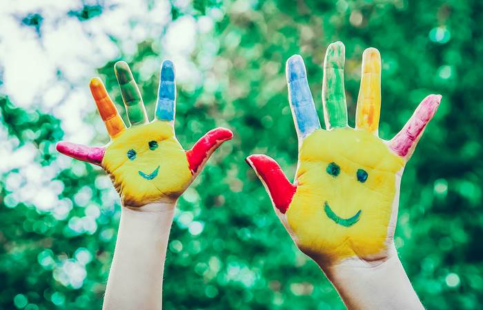 Children hands in colors
